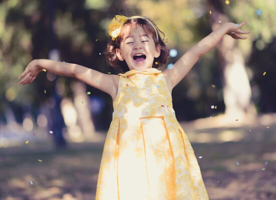 baby girl happy and playing outdoor
