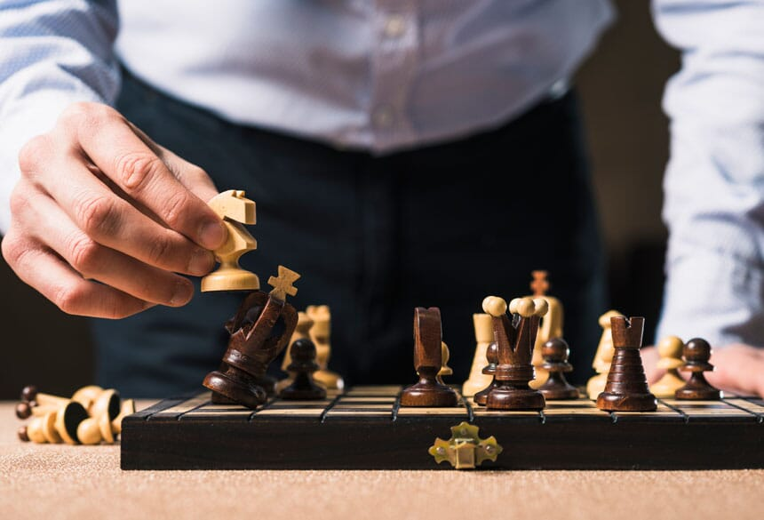 office playing chess